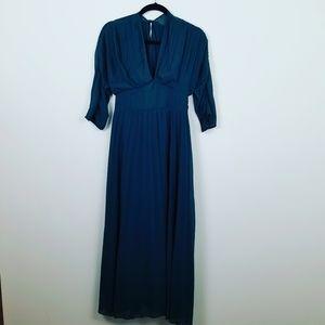 Asos Pleated Maxi Dress. Green. 14#0003